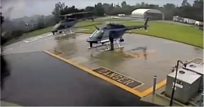 Шокирующее видео столкновения двух полицейских вертолетов