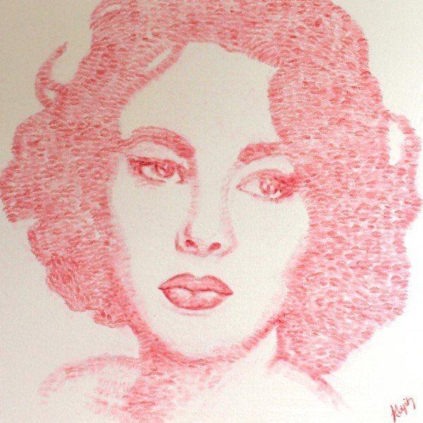 Художница рисует портреты знаменитостей поцелуями