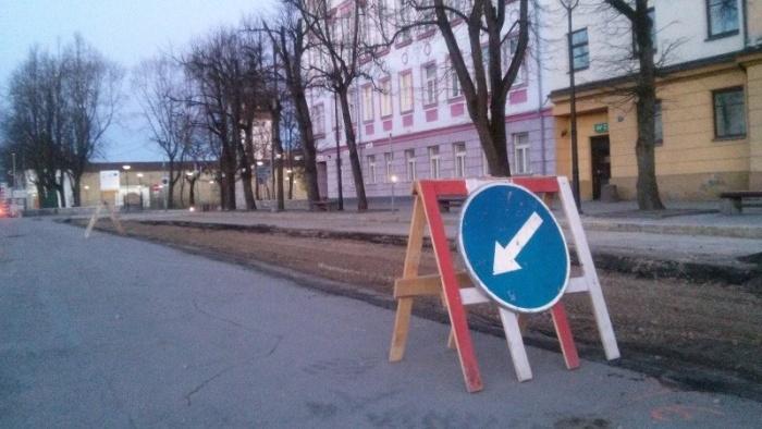 В Нарве асфальтируют Петровскую площадь