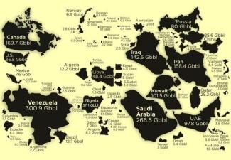 Все мировые запасы нефти по странам в одной картинке