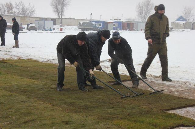 В Саратове новый газон постелили на заснеженный стадион «Авангард»