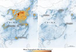 Эпидемия коронавируса резко снизила загрязнение воздуха в Китае