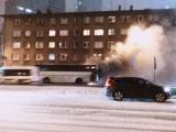 ФОТО и ВИДЕО: на улице Гонсиори в среду вечером загорелся автобус