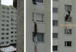 Запертый в квартире ласнамяэской многоэтажки мужчина попытался спуститься по простыням