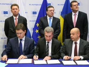 "РФ Украина и ЕС подписали договор о ""зимних"" условиях поставки газа и погашении Киевом долга"