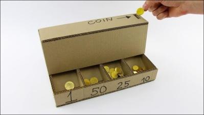 Сортировщик монет из картона своими руками