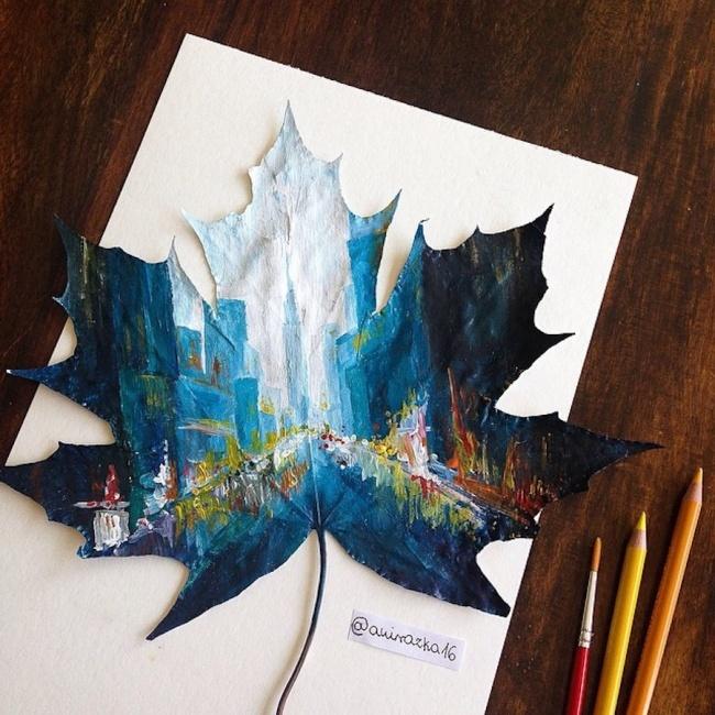 Художница-самоучка превращает осенние листья в потрясающие картины