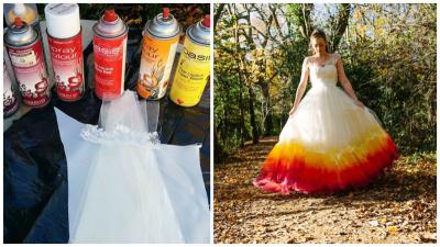 Необычное свадебное платье в стиле Dip-Dye