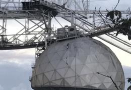 Лопнувший трос пробил 30-метровую дыру в радиотелескопе Аресибо