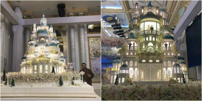 Невероятный кулинарный шедевр создал известный российский «мастер тортов» Ренат Агзамов к свадебному торжеству в Шымкенте.