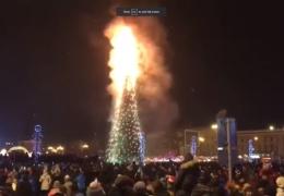 На Сахалине в новогоднюю ночь сгорела главная 25-метровая елка