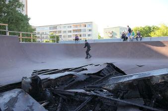 После поджога скейт-парк придется сносить
