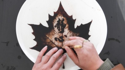 Потрясающие картины на опавших листьях от китайского мастера