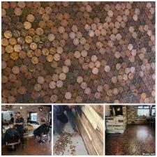 Необыкновенный пол из 70 000 монет в парикмахерской