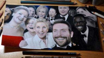 Как нарисовали гиперреалистичную копию селфи с церемонии «Оскара»