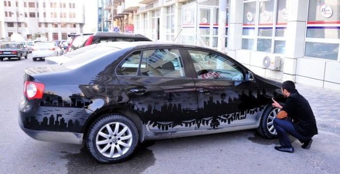 Картины на пыльных автомобилях