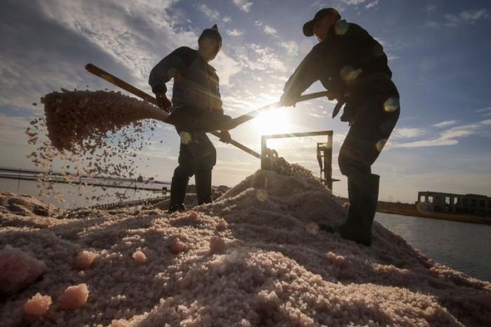 Как добывают розовую соль в Крыму