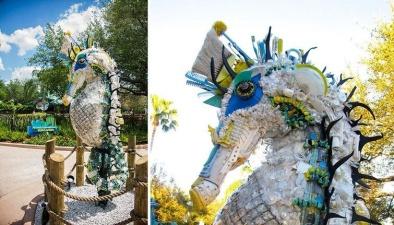 Скульптуры из мусора, найденного на пляже
