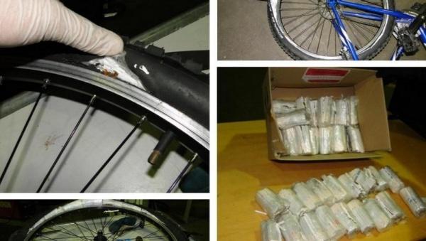 Нарвский контрабандист спрятал сигареты в велосипедные шины