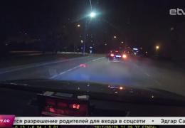 ВИДЕО: погоня за нарушителем в поселке Лоо: полиция остановила Audi выстрелом в колесо