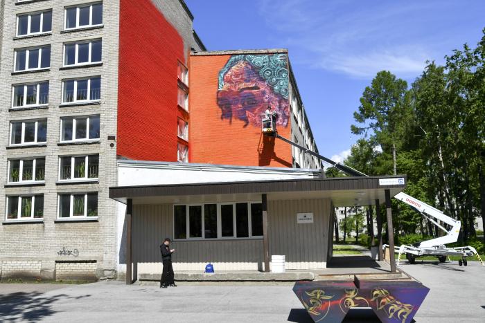 в Нарве настенным рисунком украсили здание Дома народов