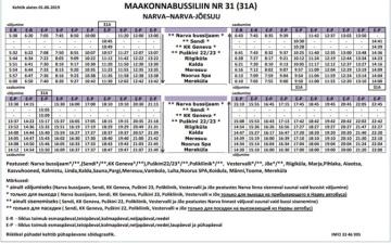 Число рейсов автобуса №31 между Нарвой и Нарва-Йыэсуу увеличится с 1 июня