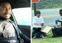 Полицейский разделил свой обед с бездомной женщиной
