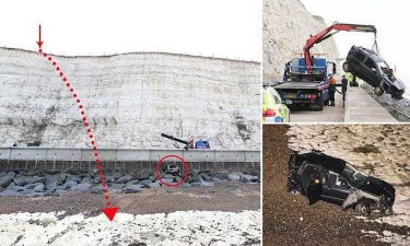 Упавший с 25-метровой скалы водитель доказал, что Ред Булл окрыляет