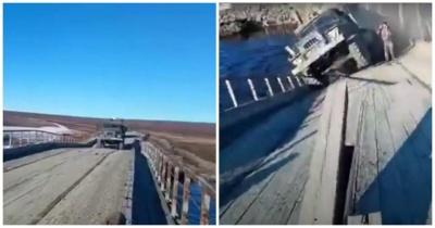 Обрушение моста под грузовиком на Ямале попало на видео